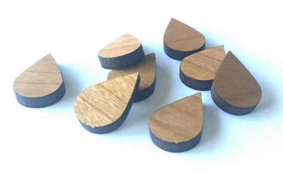 8 Pieces. Laser Cut Cherrywood Raindrop shapes. Craft Supplies.  DIY Supplies