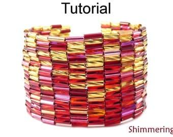 Beading Tutorial Pattern - Peyote Stitch - Bugle Bracelet - Simple Bead Patterns - Shimmering #18600