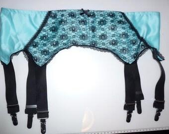 satin vintage deep style garter suspender belt burlesque 6 grips