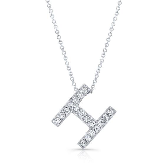 H Letter In Diamond Diamond initial pendan...