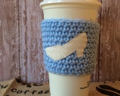 Cinderella Slipper Coffee Cozy. Gift for her. Disney princess crocheted drink warmer. Blue yarn coozie. Glass shoe tea sleeve.