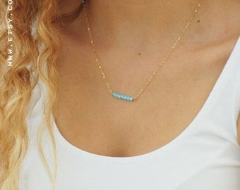 Opal bar necklace, Opal necklace, Blue opal necklace, bridesmaid necklace, Beads necklace, Opal jewelry, silver/gold filled bar necklace