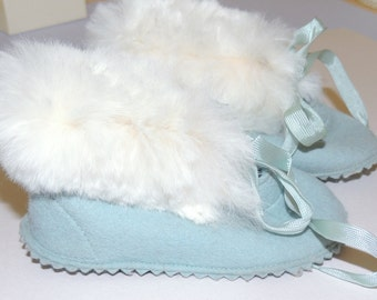 1950s Baby Blue Slippers with Rabbit Fur Trim