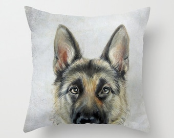 Pillow cover  Original painting print design a German Shepard, home decor ornament and decoration housewares