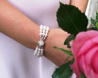 Bridal Bracelet, Bridal Jewellery, Freshwater Pearl Bracelet,  Wedding Bracelet, Bridal Three Strand Bracelet, Cuff Bracelet, Rose box clasp