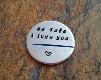 be safe i love you challenge coin police officer law enforcement graduation gift Thin Blue Line gift for LEO firefighter coin red or blue