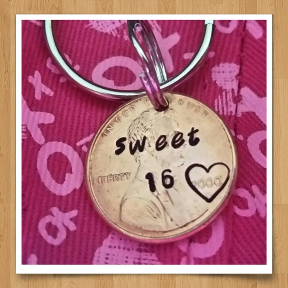 Sweet 16 Keychain Custom Gift 16th Birthday Penny Keychain