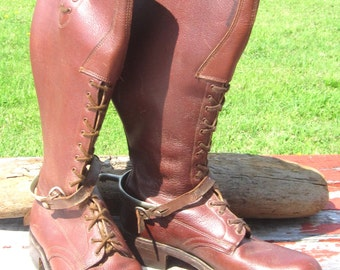 Vintage RCMP Leather Boots w Spurs Size 9 D Canada Canadian Mountie Strathcona Mounted Police Work Boots with Original spurs
