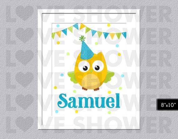 Cute OWL Poster Name Wall Art - Custom Wall Art Children ...