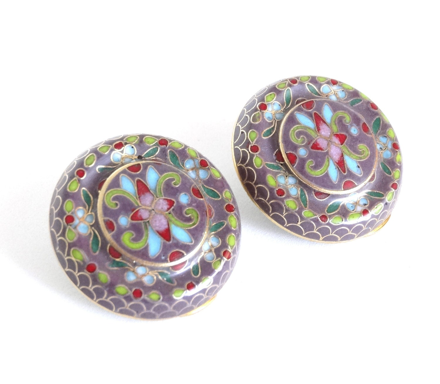 vintage cloisonne earrings colorful enamel by