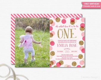 First Birthday Invitation 1st Birthday Invite Girls First Birthday Girls Birthday Pink Gold Glitter Polka Dots Photo Invitation Picture