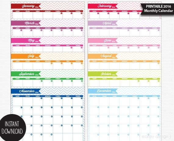 2016 Calendar Printable Instant Download Digital PDF Planner Chevron ...