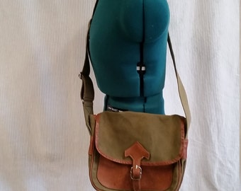 shoulder satchel purse in olive canvas and leather