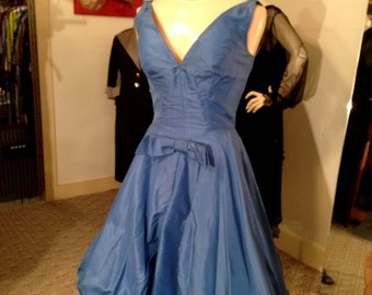 Dramatic 1950's Silk Lee Claire New York Evening Bubble Dress