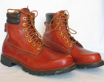 Rust Red Leather HERMAN SURVIVORS Steel Toe Work Boot Men's size 9 N Motorcycle Boots Punk Rocker Boots excellent vintage condition.
