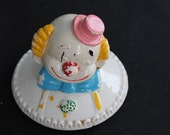 vintage pottery clown head lid no bottom with cookie basket