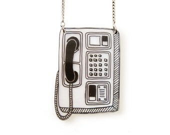 Retro Booth Phone Shrink Plastic Necklace (transparency)