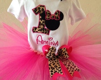 Leopard Minnie Birthday Tutu Outfit