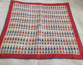 Vintage Vera scarf, square neck scarf, red, white and blue scarf, soldiers scarf, patriotic, 4th of July, 1960s 70s, gift for her, 1230