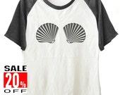 Mermaid Shell shirt workout tee women tops short sleeve shirt size S M L