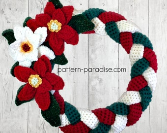 Crochet Pattern for Christmas Wreath Braided Wall Hanging PDF16-245