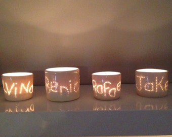 Personalised Tea lights ceramics with family names