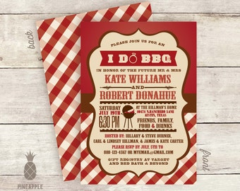 I Do BBQ Couples Shower Invitations   Colors Shown: Crimson And Chocolate