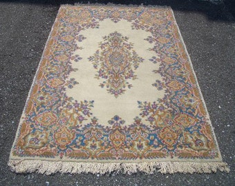 1970s Vintage, Hand-Knotted, Kerman Persian Rug (2997)