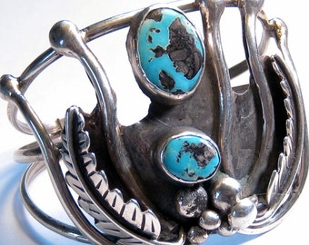 Turquoise Sterling Silver Cuff Bracelet Vintage Bohemian Jewelry