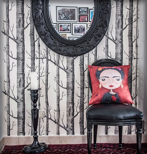 frida kahlo coussin housse illustration naif mignon mexique. Black Bedroom Furniture Sets. Home Design Ideas