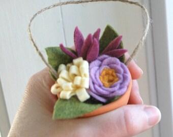 Felt Flower Bouquet Ornament - Tiny Clay Pot of Felt Flowers - Gardener Ornament - Teacher Gift - Hostess Gift