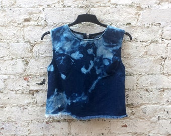 Denim Tank Top Bleach Dye to fit UK size 12 or US size 8 Festival Grunge