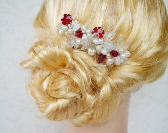 Winter bridal hair comb, Red crystal bridal comb, Freshwater pearl hair comb, Winter hair accessories, Christmas hairpiece, Couture comb