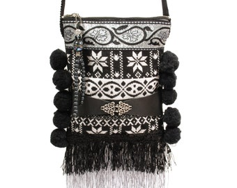 Mini purse Nordic pattern, Christmas gift woman,  small cross body black white, fringed bag small, winter purse pompons , purse handmade