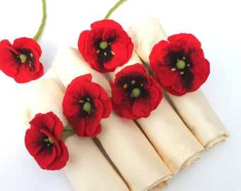 Poppies 6 pieces. For napkins Decorate Summer Party