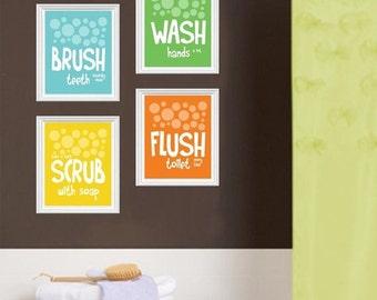 "ON SALE Childrens Kids Bathroom Art Prints Set of (4) 4""x6"" or 5""x7"" Brush Wash Scrub Flush, Blue Green Yellow Orange, Bathroom Art UNFRAMED"