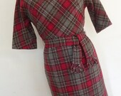 60's Dress Wool Gray and Red Plaid Day Dress Secretary Style Made Men Secretary Dress Made by R & K Originals Size S