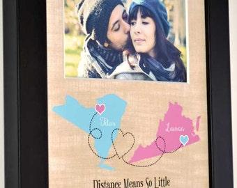 Customized boyfriend gift, long distance, couples photo, personalized art anniversary, boyfriend long distance couple any map location quote