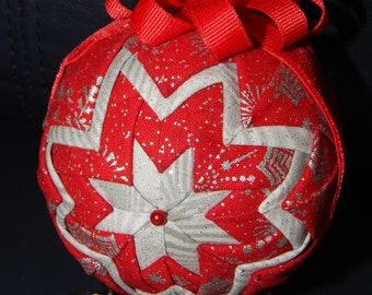 Quilted Ornament-Red/Silver with Velvet Ribbon Trim