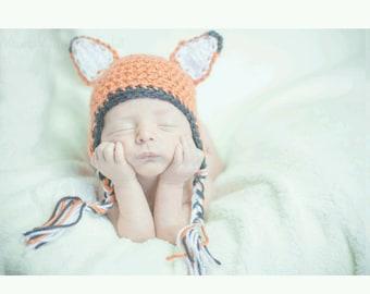 Newborn Earflap Fox Hat