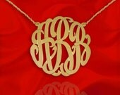 Monogram Necklace - 1.5 inch - 925 Sterling Silver 24K Gold Plated Handcrafted Designer Personalized Initial Necklace - Made in USA