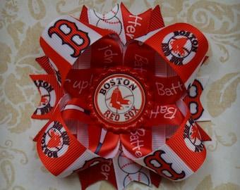 Boston Red Sox Baseball Inspired stacked layered hair bow