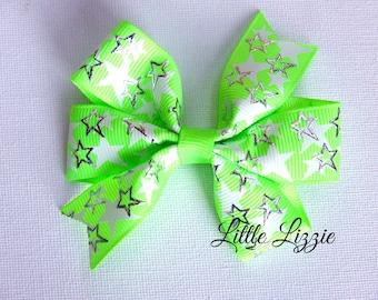 Neon green / yellow pinwheel hair clip girl toddler