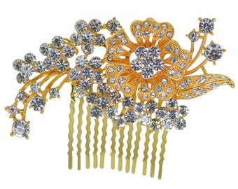 Flower bouquet Hair Comb Accessory Bridal Wedding Party Jewelry with Crystal Stones For Styled Hair-do