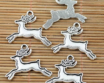 32pcs tibetan silver plated running deer cameo charm pendants EF1942