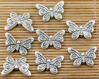 24pcs tibetan silver tone 2sided butterfly delicate spacer bead EF1736