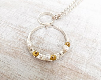 Hoopla Necklace Silver, Pearl and Brass Necklace