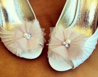 Shoe Clips - Tulle Shoe Clip - Blush Tulle shoe clip - Set of 2 - BEST SELLER
