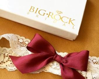 Burgandy Lace Garter- Lingerie Shower - Bridal Shower - GIFT -BEST SELLER