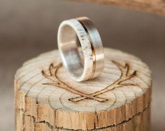 mens wedding band elk antler ring w 10k gold inlay staghead designs - Antler Wedding Rings